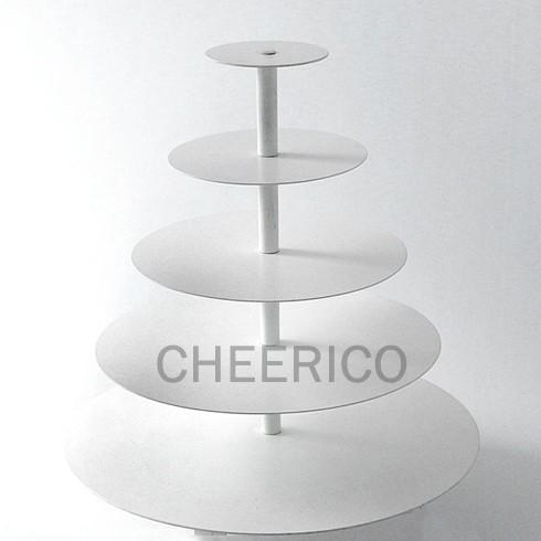 5 Tier White Round Maypole Cupcake Stand