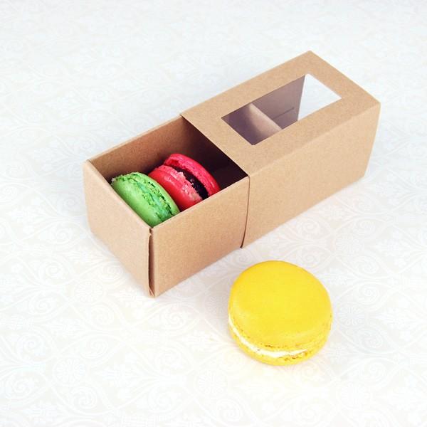 3 Macaroon Window Kraft Brown Boxes($1.85/pc x 25 units)