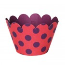 Purple Pokaldot Red Cupcake Wrappers - 12units/pack