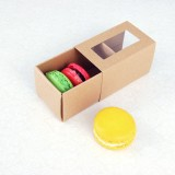 3 Macaroon Window Kraft Brown Boxes($1.85/pc x 25 units)